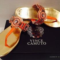 Vince Camuto Medith Thong Flat Sandals Coral/gold Leather 8m Photo