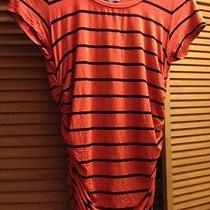 Vince Camuto Medium Orange Black Stripe Gathered Top Photo