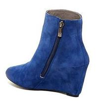 Vince Camuto Melisi Oxford Blue Suede Wedge Ankle Boots Bootie 6 Photo