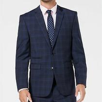 Vince Camuto Men 40 L Slim Fit  Blue Plaid Jacket Sport Coat Blazer Slpta Photo