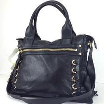 Vince Camuto Mica Medium Black Leather Satchel Shoulder Bag 248 Li0915 Photo
