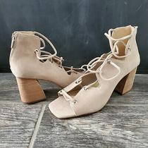 Vince Camuto Nahara Beige Suede Lace-Up Sandals Heels Size 8 M Photo