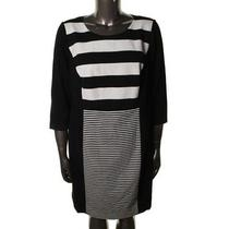 Vince Camuto New B/w Ponte 3/4 Sleeves Wear to Work Dress Plus18w  Photo