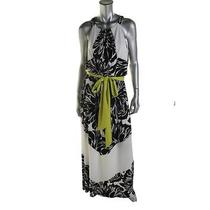 Vince Camuto New Black-Ivory Matte Jersey Floral Print Maxi Dress 8 Bhfo Photo