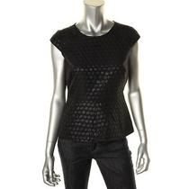 Vince Camuto New Black Polka Dot Jacquard Cap Sleeve Peplum Top Blouse 4 Bhfo Photo