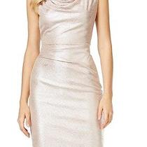 Vince Camuto New Gold Blush Women's 12 Cowl-Neck Textured Sheath Dress 148 123 Photo