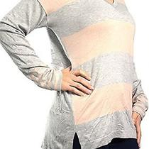 Vince Camuto New Gray Rose Blush Striped Women's Large L v-Neck Sweater 89 082 Photo