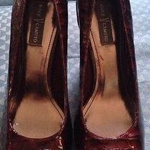 Vince Camuto Noga Cranberry Patent Leather Croco Platform Pumps Heels Shoes 8.5 Photo