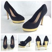 Vince Camuto Nwt Sexy Black Suede Gold Platform Classic Pumps Heels Sz 5.5 169 Photo