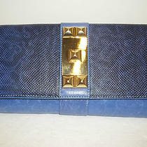 Vince Camuto Ocean Blue Python Print Leather Louise Studded Clutch Handbag Photo