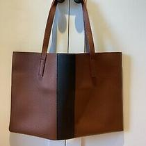 Vince Camuto  Pebble All Leather Tote Bag Purse Brown/black Photo
