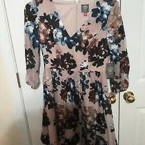 Vince Camuto Puff Sleeve Floral Blush Velvet Fit & Flare Dress New Sz 8 Photo