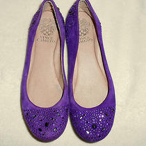 Vince Camuto Purple Suede Ballet Flat Shoes Sz 5.5 B Rhinestones Toe & Back Photo
