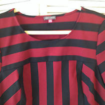 Vince Camuto Red Black Striped Short Sleeve Top Women's Sz Xl Photo