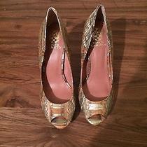 Vince Camuto Renee Gold Snakeskin Print Leather Peeptoe Heels Size 8 Nwob Photo
