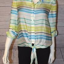 Vince Camuto S Green Blue White Button Down Tie Front Top 100% Polyester Stripe Photo