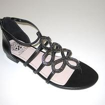 Vince Camuto Sandals Gladiator T-Strap Black Leather Metallic Harissa Size 8 M Photo