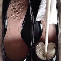 Vince Camuto Shoe Pump Heel Rounded Toe 5.5 Elanie Black Smooth Patent Designer  Photo