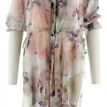Vince Camuto Side Tie Diffused Bloom Tunic New Ivory 1x New A306721 Photo