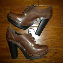 Vince Camuto Size 7.5 Brown Vc Canasta Lace Wood Heel Women Oxford Pumps Photo