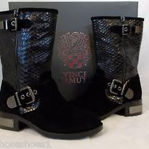 Vince Camuto Size 7.5 M Witty Black Leather Mid Calf Boots New Womens Shoes Photo