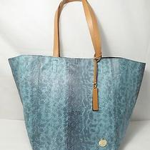 Vince Camuto Snake Embossed Faux Leather Teal Tote 178 Photo