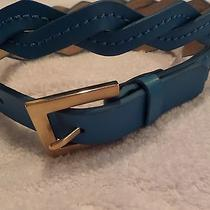 Vince Camuto Teal Turquoise Leather Womens Belt Twist Weave New 40 Small S Hot Photo