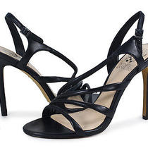 Vince Camuto Tiernan Black Leather Ankle Strap Heel Sandal Shoe 10 New Photo