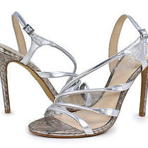Vince Camuto Tiernan Silver Gleam Metallic Leather Heel Sandal Shoe 6.5 New Photo