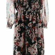 Vince Camuto Timeless Blooms Cinch Waist Dress Rich Black L New A343586 Photo