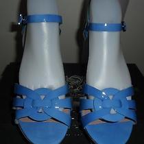 Vince Camuto Toleo Women' Sz 9.5 Bm  Blue Patent Leather Dress Sandals Shoes Photo