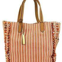 Vince Camuto Tote Large Knit Fabric Iona Handbag (Blue Stripe Multi) Photo