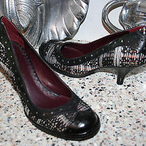 Vince Camuto Tweed Black Leather Heels Pumps Classic Womens Shoes  8/38 New Photo