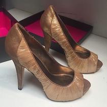 Vince Camuto Vc-Moda Womens Sz. 8.5 M Golden Glitz Bronze Textile Platform Heels Photo