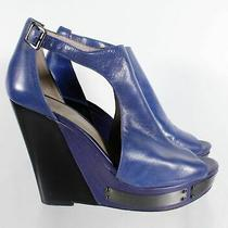 Vince Camuto Waylin Blue Leather Women's Cutout Platform Wedge Heel Sandal Sz 9b Photo