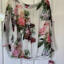 Vince Camuto White Floral Top - Size L Brand New & Genuine Photo