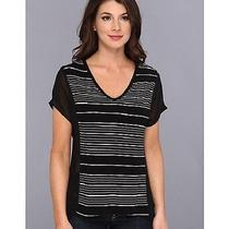Vince Camuto Woman's Sheer Pannel Piano Stripe Top/shirt ( Large ) Nwt 69.00 Photo