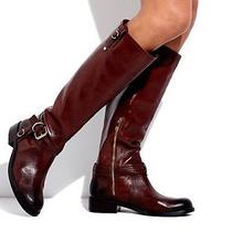 Vince Camuto Womans Kabo Wide-Calf Tall Leather Riding Boots Rich Cocoa Brown 8 Photo