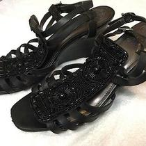 Vince Camuto Women's Black Leather Strappy Jeweled Wedge Heel Sandals Size 10b Photo