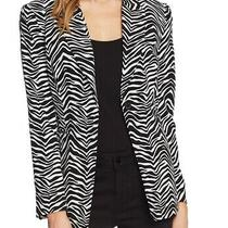 Vince Camuto Women's Blazer Black Size 6 Zebra Print Single Button 149 665 Photo