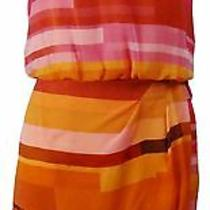 Vince Camuto Women's Block Striped Chiffon Dress Orange/pink 10 Photo