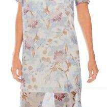 Vince Camuto Women's Blue Size Xs Poetic Bloom Sheer Shift Dress 129 171 Photo