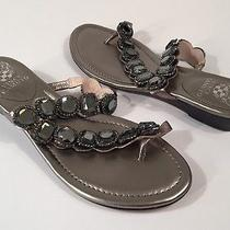 Vince Camuto Women's Imanal Pewter Toe Ring Heavily Jeweled Sandals Size 8.5 Photo