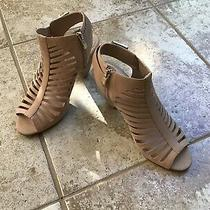 Vince Camuto Womens Caged Cut Out High Heels Sandals Sz 8.5 Blush Tan Leather Photo
