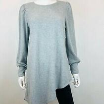 Vince Camuto Womens Gray Asymmetric-Hem Crew Neck Long Sleeve Sweater Size M Photo