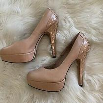 Vince Camuto Womens Heels Size 8.5 Nude Rose Gold Leather Platform Pumps Photo