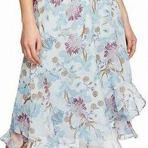 Vince Camuto Womens Maxi Skirt Blue Size Xl Floral Asymmetrical Hi Low 99 222 Photo