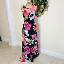 Vince Camuto Womens Side Slit Bold Floral Maxi Dress I Size 6 Photo
