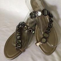 Vince Camuto Womens Silver Leather Jewel Thong Toe-Ring Shoes Sandals Sz 7.5  Photo