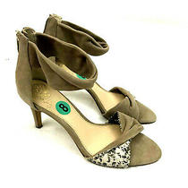 Vince Camuto Womens Size 8 Camden Open Toe Heels Twisted Strap Leather Suede  Photo